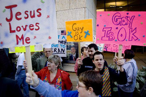 "Protesters sang ""Jesus Loves Me"" outside of First Baptist Church of Dallas on Nov. 9, 2008."