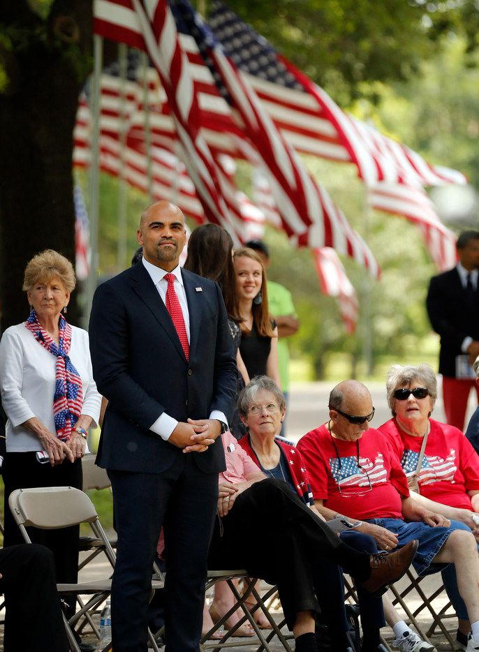 U.S. Representative Colin Allred, District 32 (D-Dallas) waits to be introduced during the 79th annual Memorial Day celebration in the Field of Honor at Restland Memorial Park in Dallas, Monday, May 27, 2019. (Tom Fox/The Dallas Morning News)