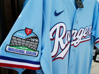 Detail of the new Texas Rangers powder blue jersey during the unveiling of the 2020 uniforms at Live! next to Globe Life Field in Arlington, Texas on Wednesday, December 4, 2019. (Vernon Bryant/The Dallas Morning News)