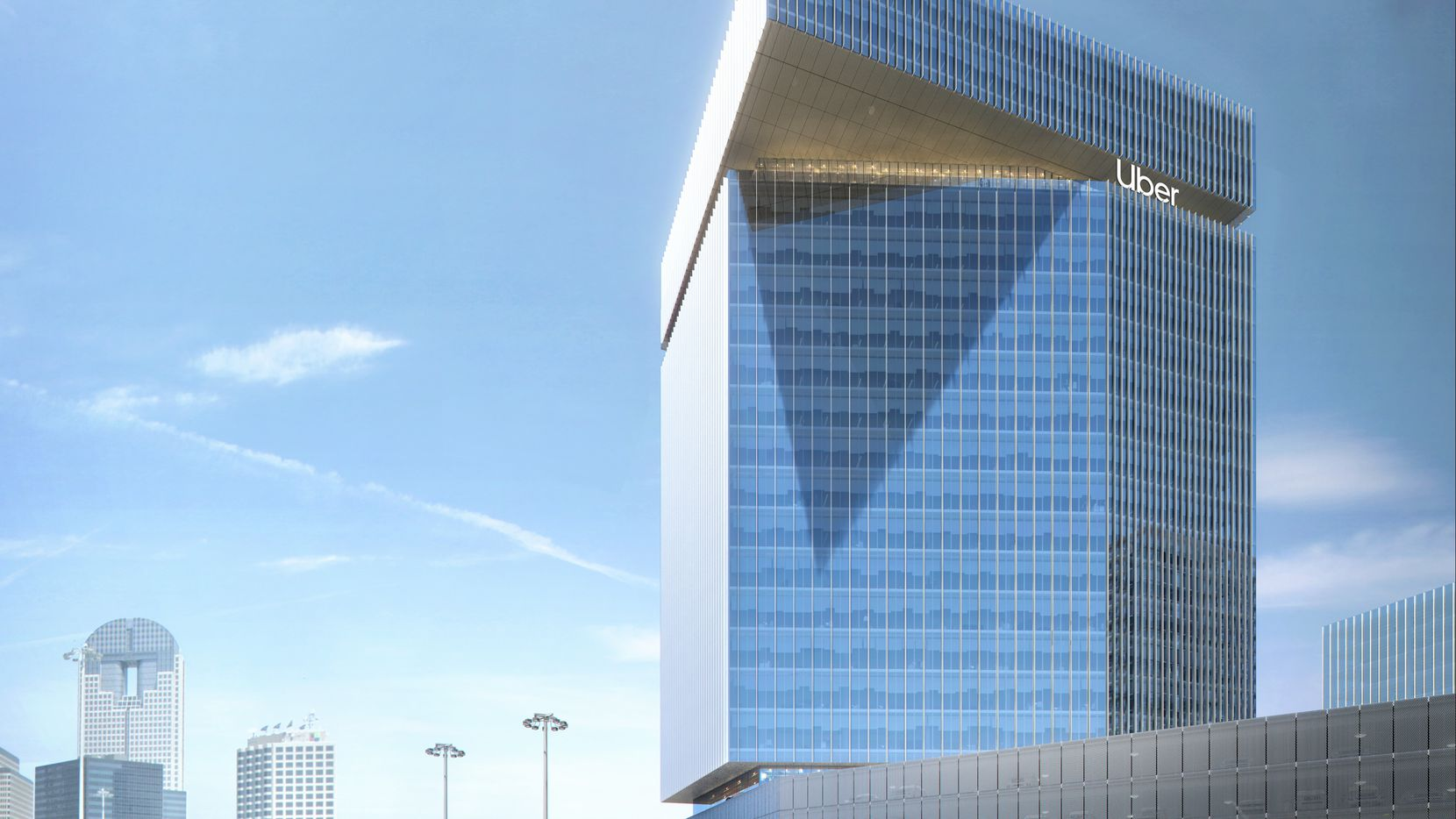 A rendering of the proposed 23-floor tower that Uber plans to move into in 2022.