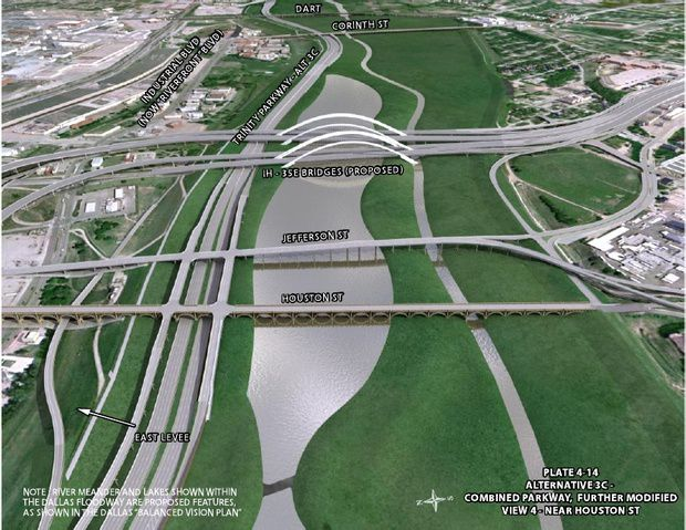 A rendering of one of the proposed plans for the Trinity Parkway.