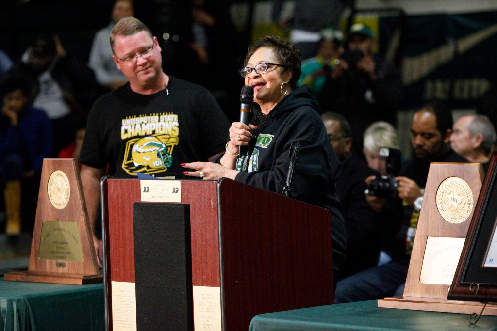 In this January 2017 file photo, DeSoto Mayor Curtistene McCowan addressed the crowd before introducing DeSoto football coach Todd Peterman (left) during an event to celebrate the school's four Class 6A state championships.