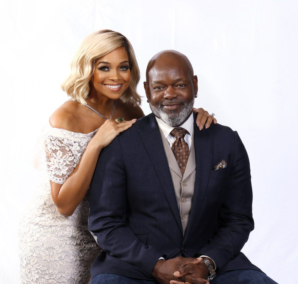Former Dallas Cowboys running back Emmitt Smith poses with his wife Pat in their home in Dallas on Tuesday, July 11, 2017. (David Woo/The Dallas Morning News)