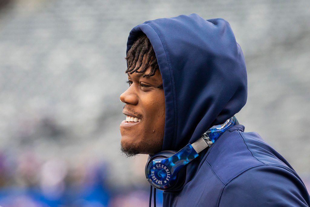 Dallas Cowboys defensive end Randy Gregory warms before an NFL football game against the New York Giants at MetLife Stadium on Sunday, Dec. 30, 2018, in East Rutherford, New Jersey. (Smiley N. Pool/The Dallas Morning News)