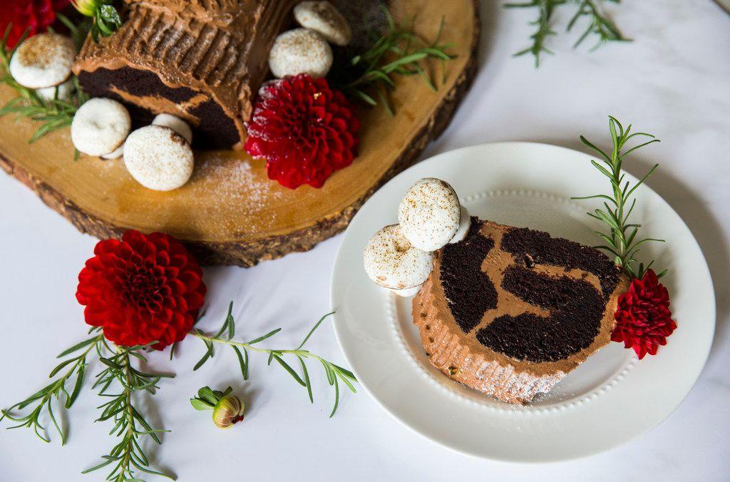 A chocolate espresso buche de noel