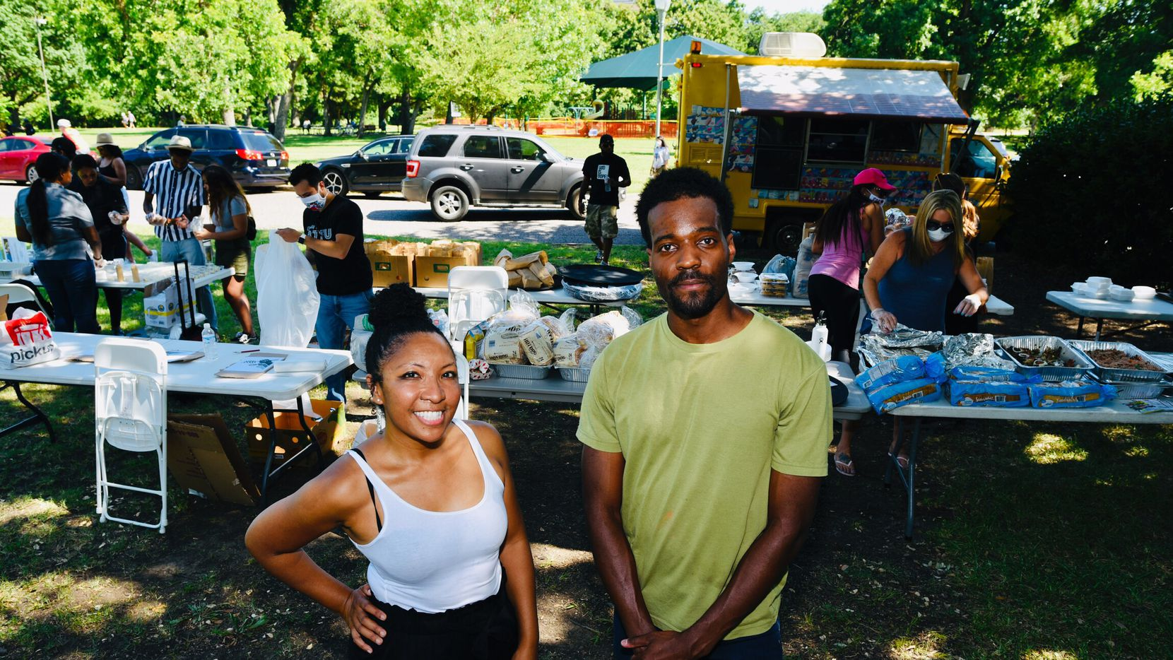 Deah Berry Mitchell, vendor organizer, and Jeziel Jones, head organizer for the Potluck Protest, welcomed a crowd supporting black-owned restaurants during the event at Dallas' Reverchon Park.