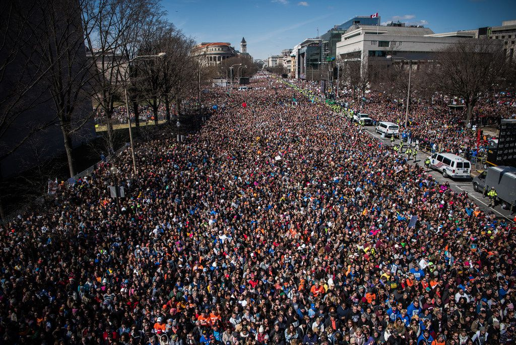 An estimated 800,000 protesters packed the U.S. capital's streets for the March for Our Lives rally Saturday in Washington.