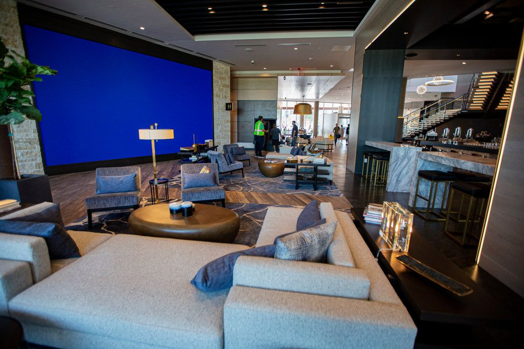 A 30 by 22 foot video screen will provide entertainment at the hotel's lobby bar.