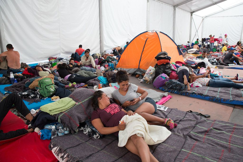 Central American migrants rest at the Jesus Martinez stadium in Mexico City, Mexico on November 8, 2018.