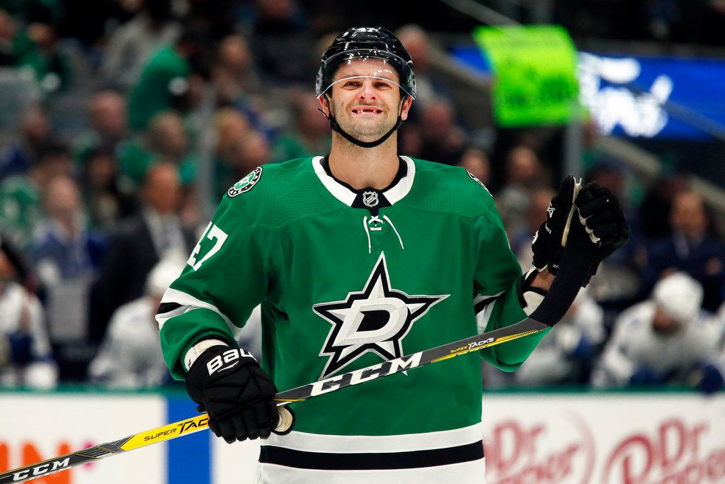 Dallas Stars right wing Alexander Radulov smiles as he prepares for the face-off against the Tampa Bay Lightning during an NHL hockey game in Dallas, Monday, Jan. 27, 2020. Dallas won, 3-2 in overtime. (AP Photo/Ray Carlin)