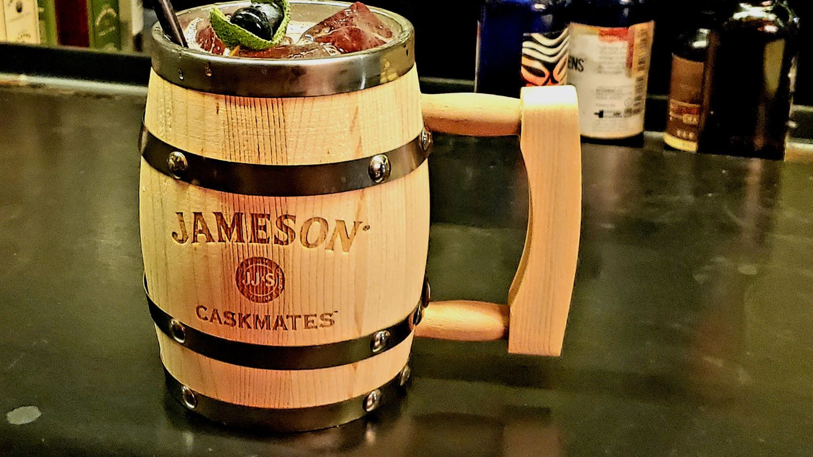 The Blueberry Mule at Trick Pony features Jameson Caskmates Stout and is served in a keepsake mug.
