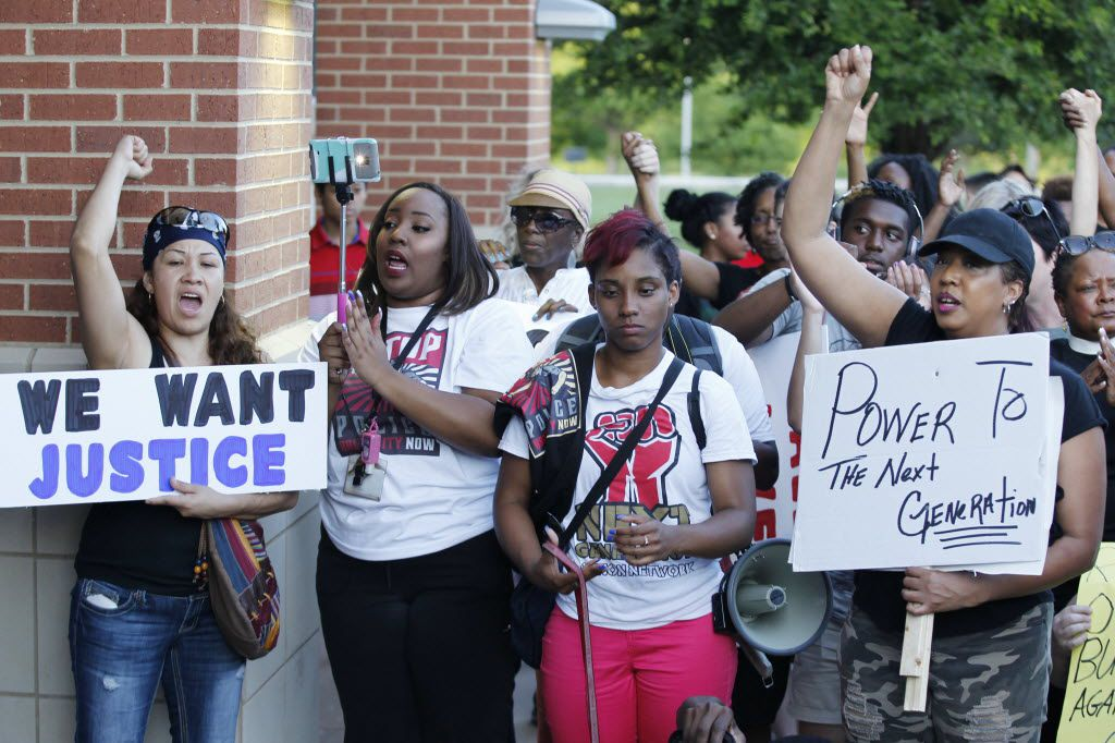 Protesters attended a Next Generation Action Network protest in front of the McKinney Police Department in June 2015.