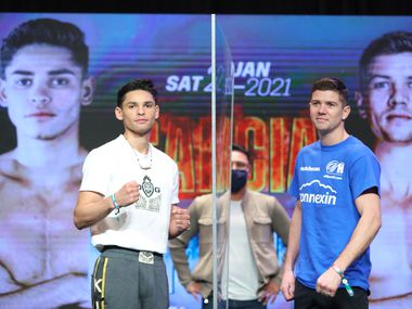 DALLAS, TX - DECEMBER 31: Ryan Garcia and Luke Campbell pose during a press conference prior to their fight on December 31, 2020 in Dallas, Texas. (Photo by Tom Hogan/Golden Boy/Getty Images)
