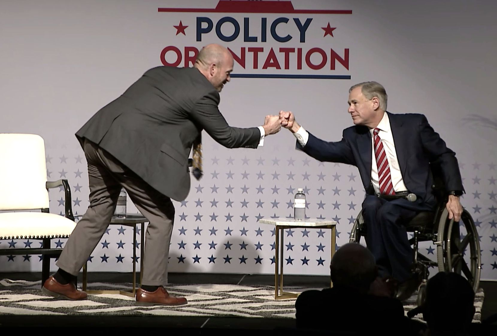 "Gov. Greg Abbott, shown fist-bumping with Texas Public Policy Foundation executive director Kevin Roberts, said he also ""desperately"" wants the Legislature to ""restore teaching civics in the classroom of schools ... focusing on Texas values, Texas exceptionalism, patriotism, the U.S. Constitution, the core values that have made Texas."""