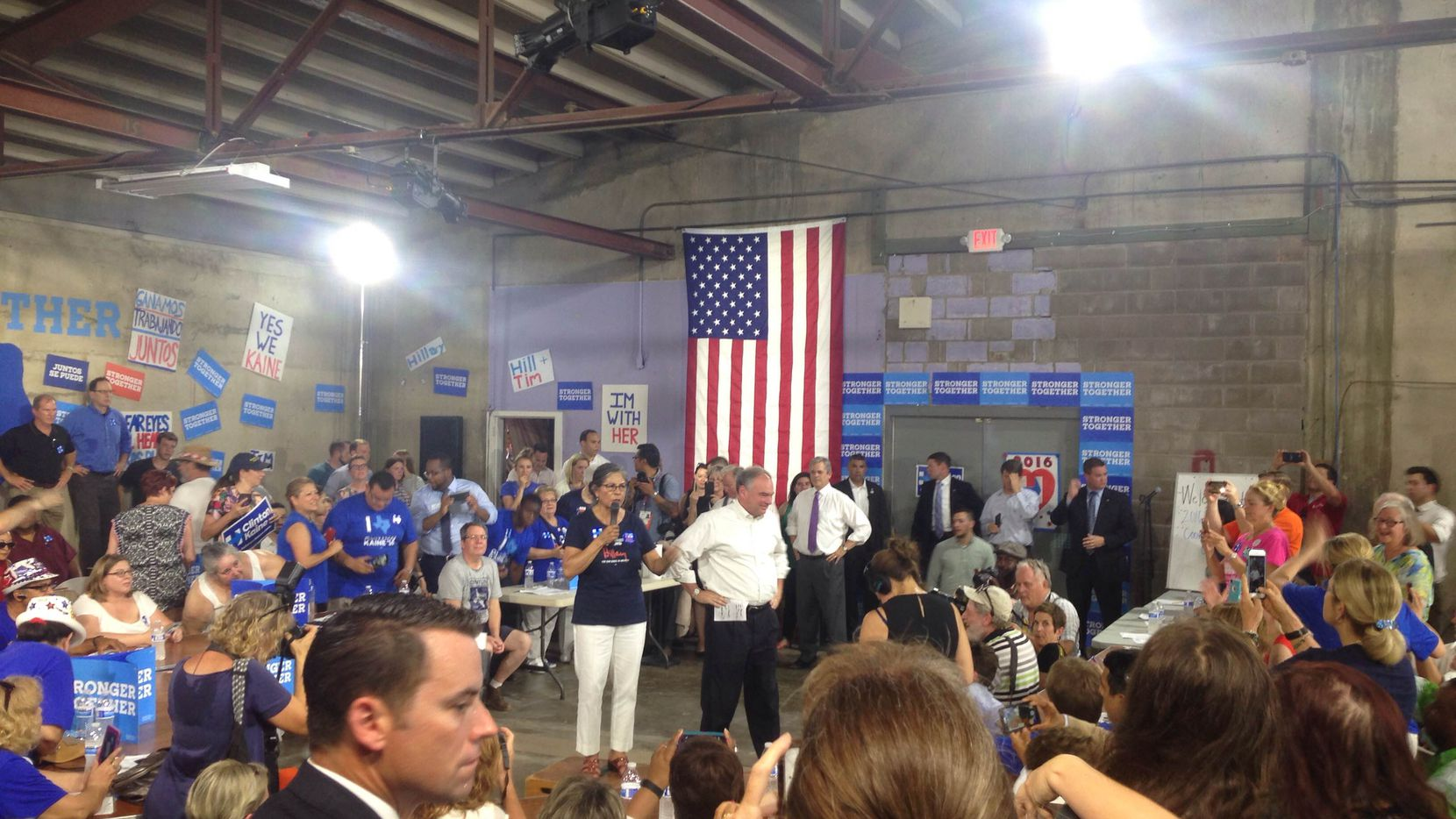 Vice presidential candidate Tim Kaine gets ready to speak at an event in Austin on Tuesday.