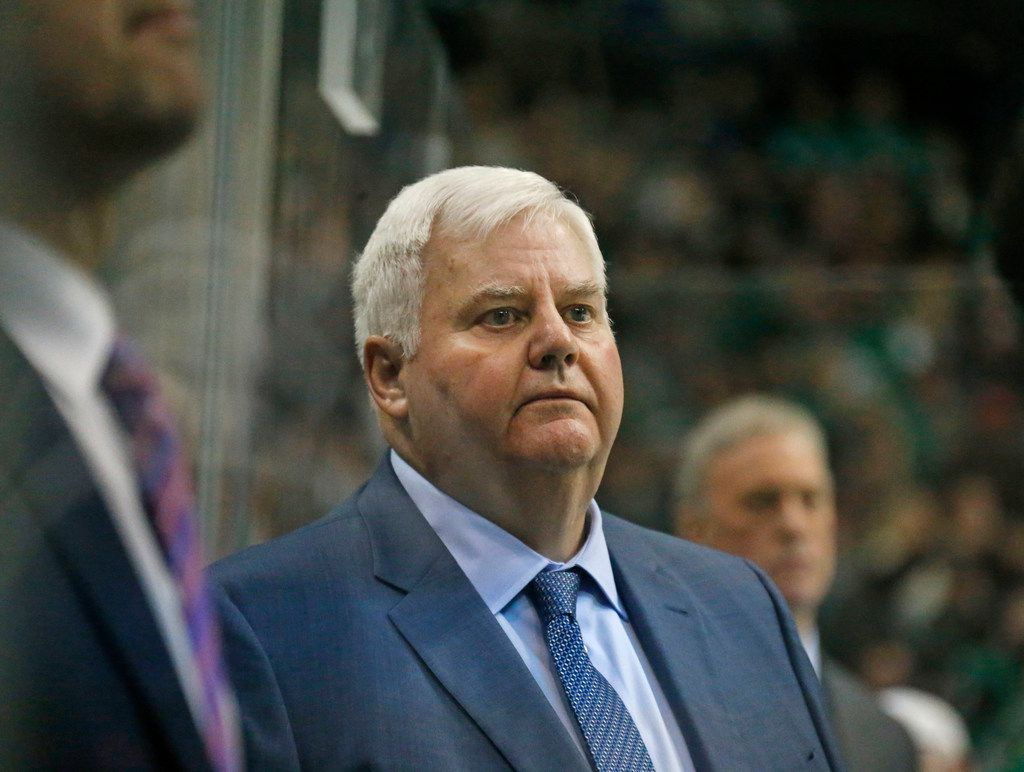 Dallas head coach Ken Hitchcock is pictured during the Anaheim Ducks vs. the Dallas Stars NHL hockey game at the American Airlines Center in Dallas on Friday, March 9, 2018. (Louis DeLuca/The Dallas Morning News)