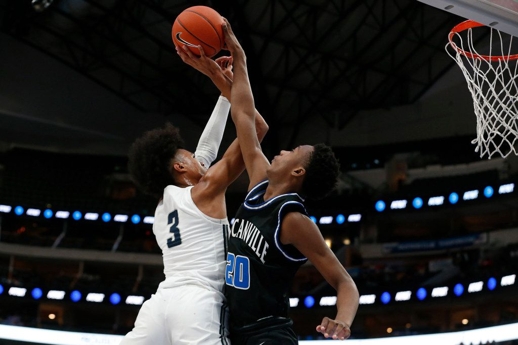 Sierra Canyon's Brandon Boston Jr.  (3) has a shot blocked by Duncanville's  Ronald Holland (20) during their high school boys basketball game during the Thanksgiving Hoopfest in Dallas, Tx, Saturday, Nov. 30, 2019. (Michael Ainsworth)