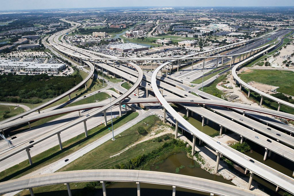 Intersection of Interstate 35 and Sam Rayburn Tollway in in Lewisville on Thursday, August 31, 2017.
