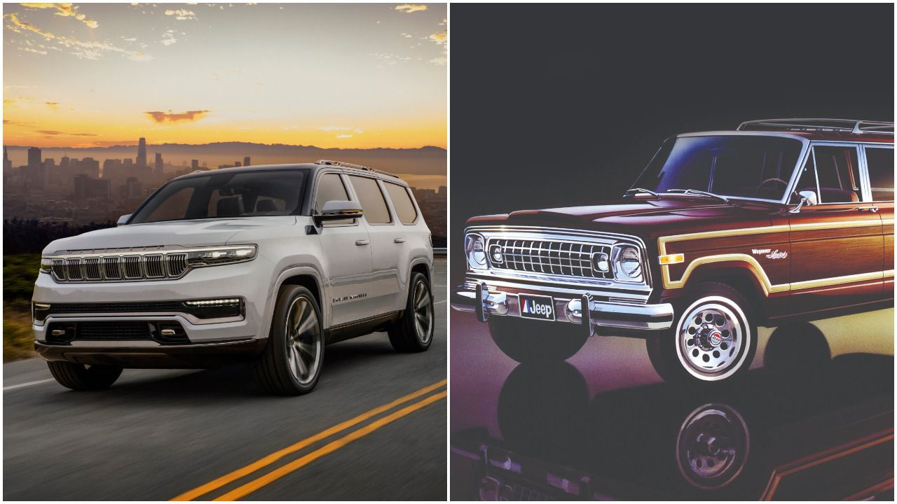 The Jeep Grand Wagoneer Concept (left) revealed in 2020 and a 1970s version of the original Grand Wagoneer.