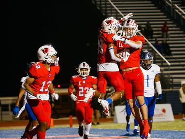 Parish Episcopal's Jai Moore (89) celebrates his touchdown during the first half of a TAPPS Division I state football championship against Fort Worth Nolan at Panther Stadium in Waco on Saturday, Dec. 12, 2020. (Juan Figueroa/ The Dallas Morning News)