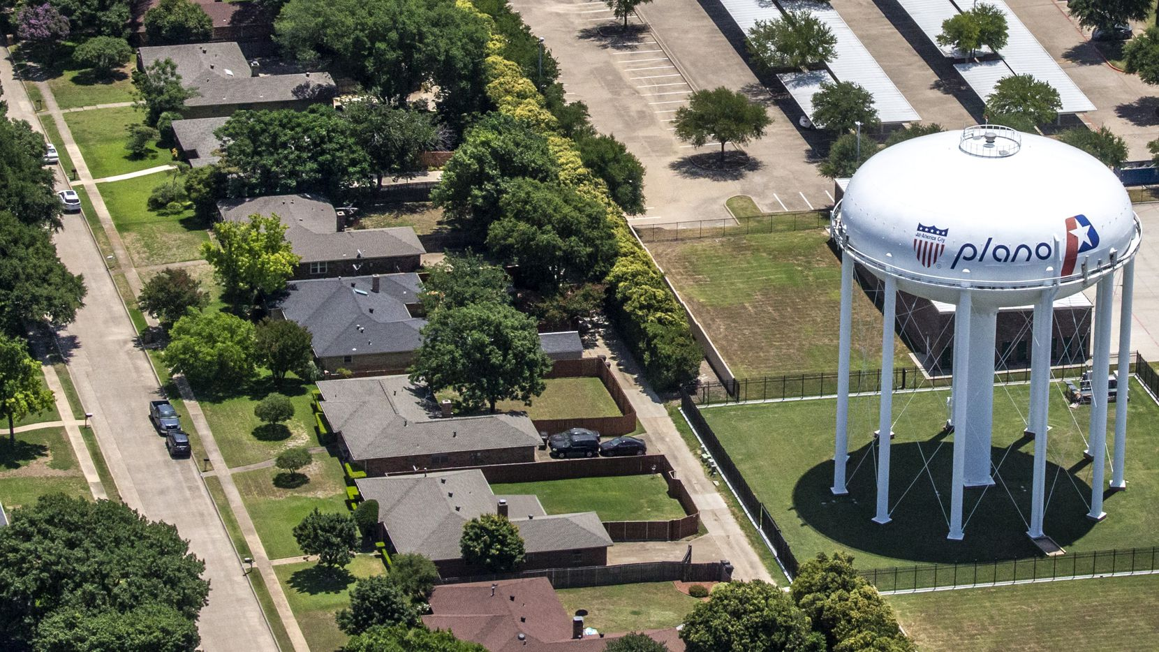 A Plano water tower in Plano, Texas, on Thursday, June 18, 2020.