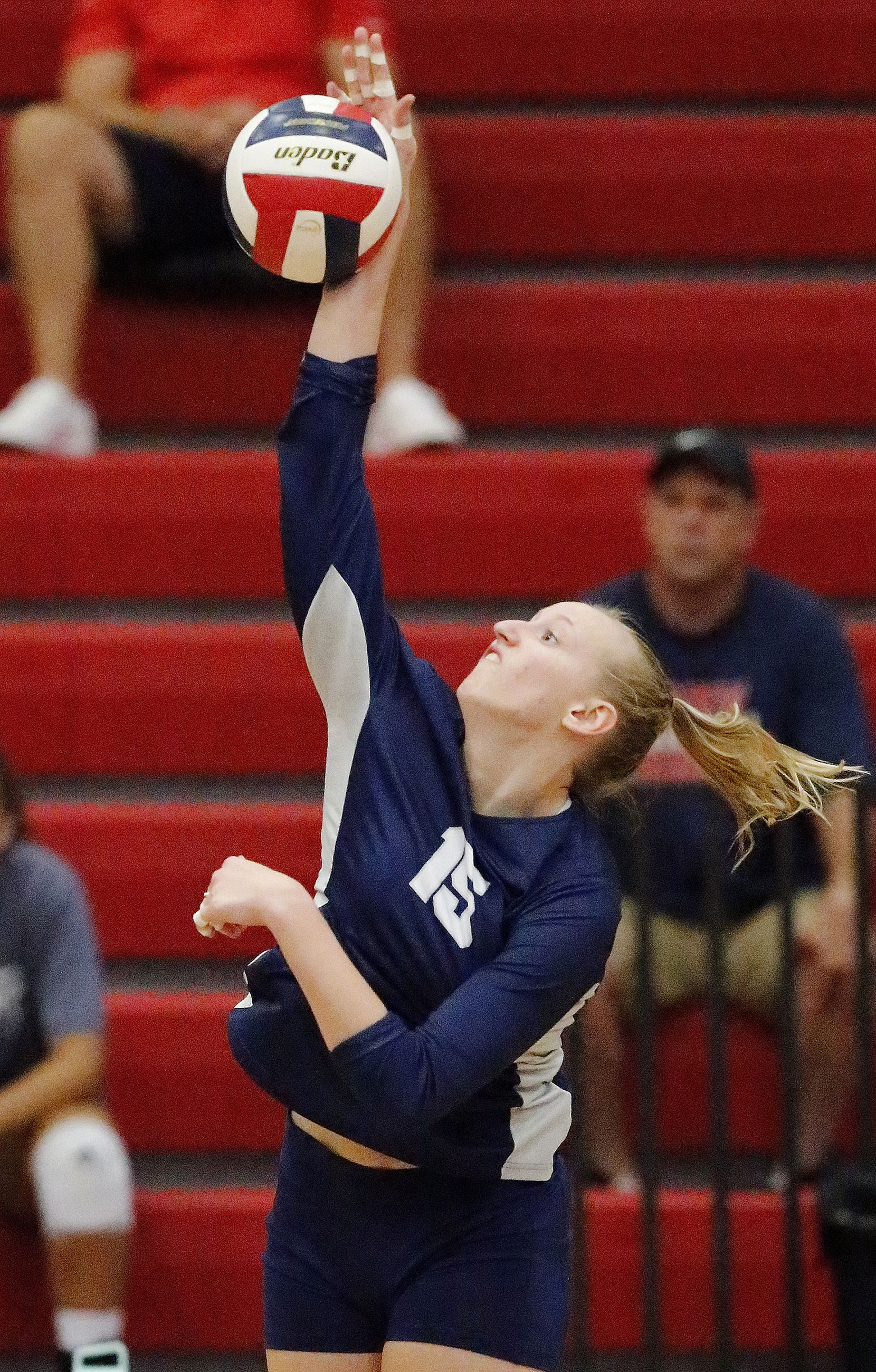 Flower Mound High School right side hitter Maddie Cox (15) gets a hit during game one as McKinney Boyd High School hosted Flower Mound High School at McKinney Boyd High School on Tuesday evening, September 7, 2021. (Stewart F. House/Special Contributor)