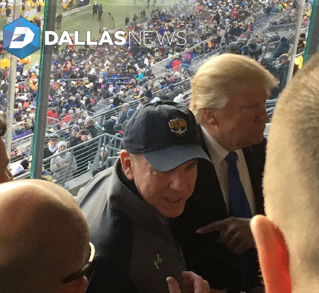 In a photo obtained by The Dallas Morning News, Heisman Trophy-winning Navy quarterback and Dallas Cowboys legend Roger Staubach with President-elect Donald Trump at the 2016 Army-Navy Game in Baltimore.