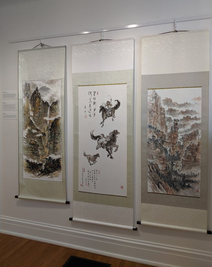 """Three of artist Jenney Chang's paintings on display at the ArtCentre of Plano as part of the exhibit """"FLOW: The Dedication of Women."""" The exhibit runs until Aug. 24, 2019."""