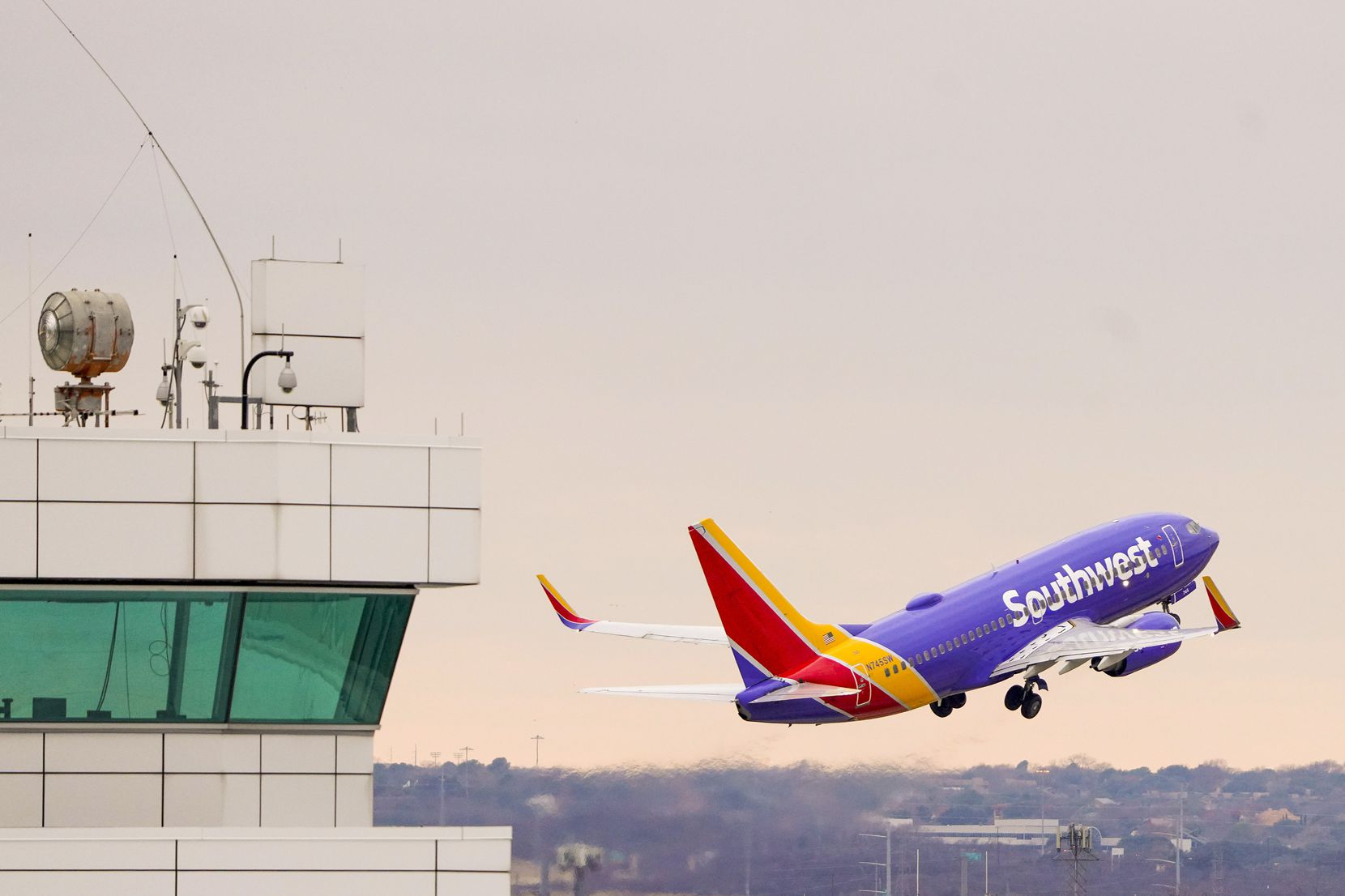 A Southwest Airlines flight takes off at Dallas Love Field earlier this month.
