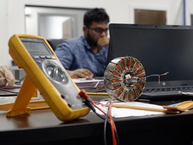 A technician works on a project at Linear Labs in Fort Worth. (Lawrence Jenkins/Special Contributor)