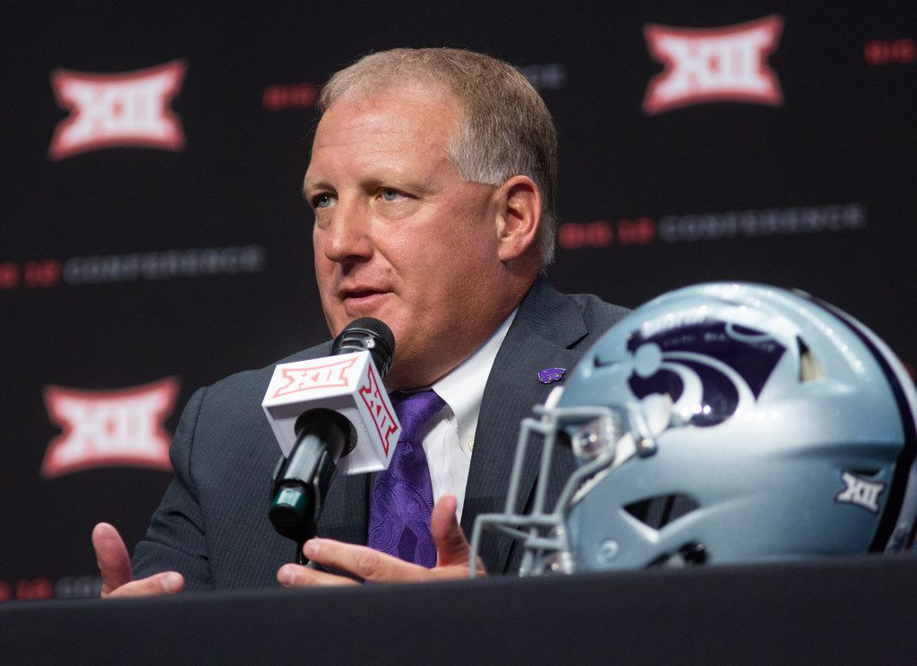 Kansas State University head football coach Chris Klieman speaks at a press conference during the Big 12 Conference Media Days event at the AT&T Stadium in Arlington, Texas, Tuesday, July 16, 2019. (Lynda M. Gonzalez/The Dallas Morning News)