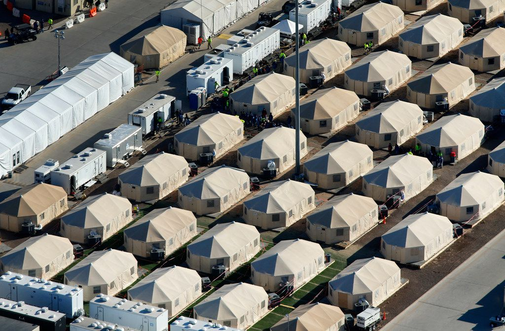 An aerial photo shows the Health and Human Services temporary encampment -- the tent city near the U.S. Customs and Border Protection - Tornillo Port of Entry, Friday, November 9, 2018. Migrant children living there are in the care of a contractor for the Office of Refugee Resettlement. (Tom Fox/The Dallas Morning News)