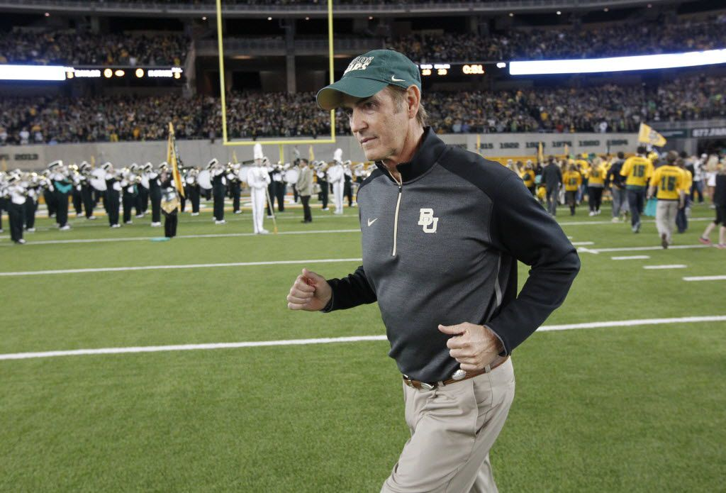 Baylor Bears head coach Art Briles walk onto the field prior to playing the Kansas State Wildcats during their college football game at McLane Stadium in Waco, Tx, on Dec. 6, 2014.   (Michael Ainsworth/The Dallas Morning News) 01122015xBIZ