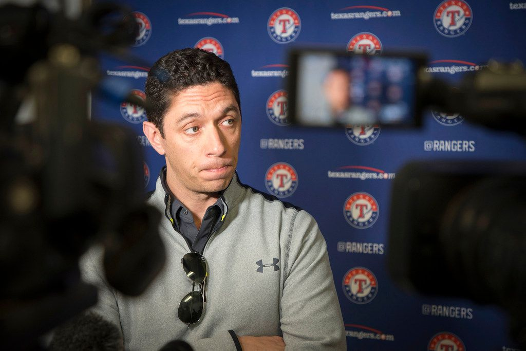 Texas Rangers general manager Jon Daniels discusses the pending acquisition of pitcher Tim Lincecum at the team's spring training facility on Tuesday, March 6, 2018, in Surprise, Ariz. (Smiley N. Pool/The Dallas Morning News)