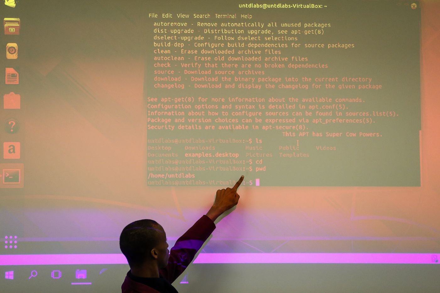 Jaylon Miller looks delivers a presentation during an computer operating systems class at the University of North Texas at Dallas on Wednesday, Jan. 29, 2020 in Dallas.