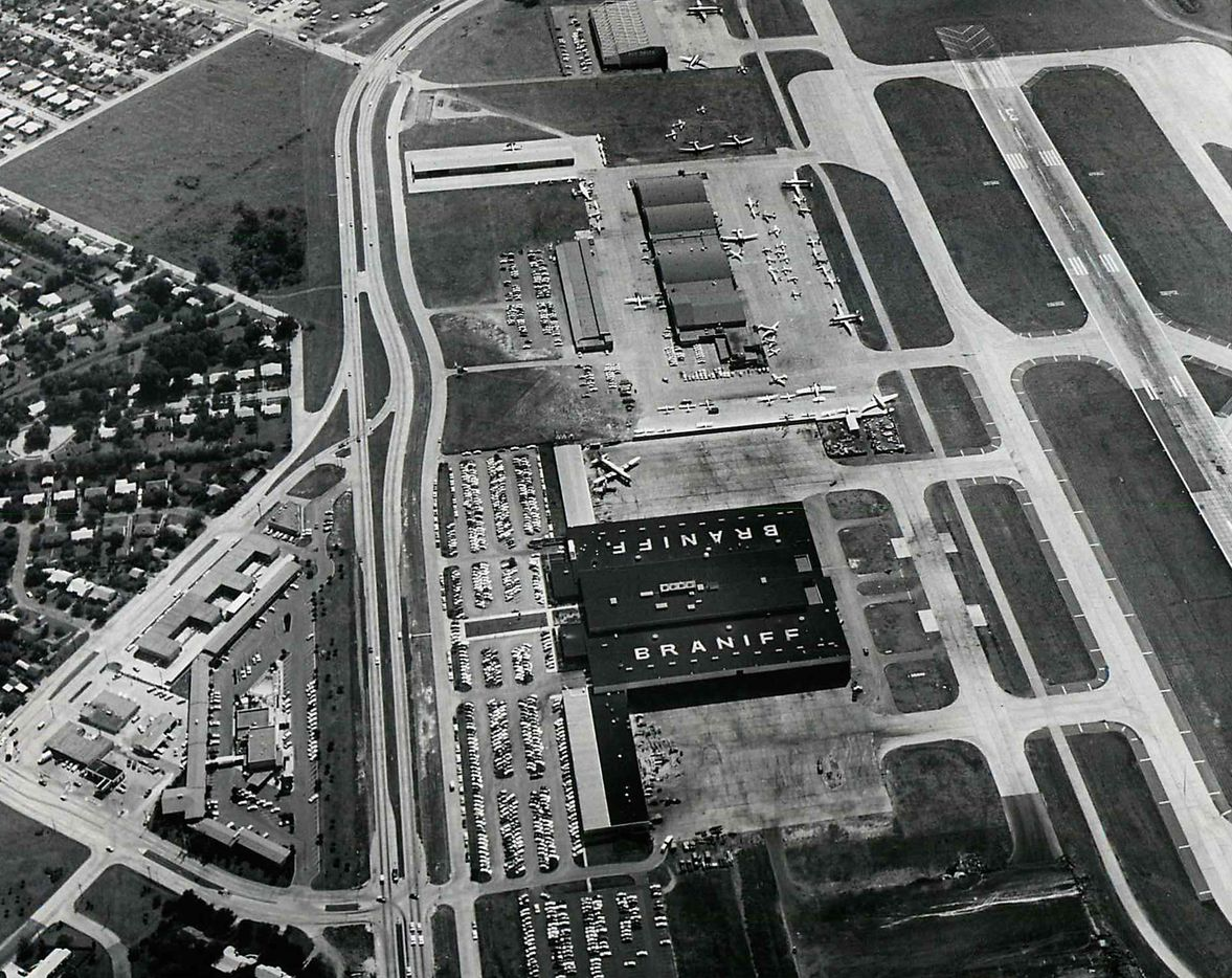 This aerial view of Dallas Love Field and the old Braniff headquarters was shot on Sept. 21, 1962.