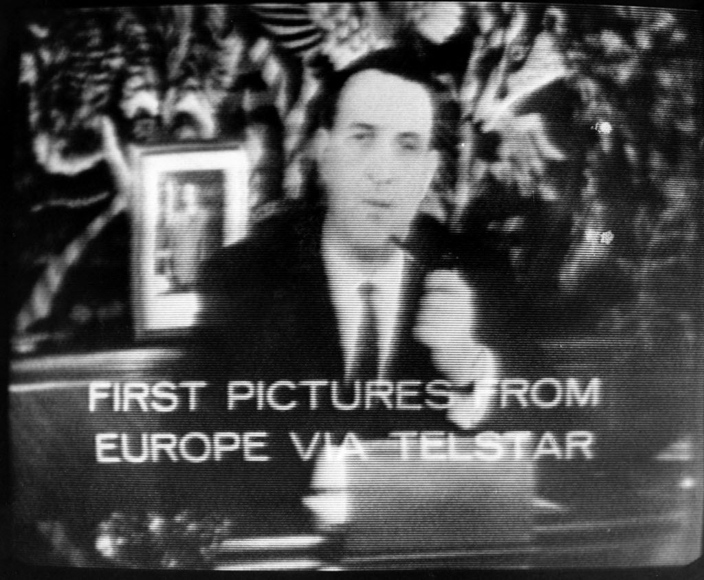 Photo of the first live transoceanic television picture transmitted by the Telstar I satellite and received via Andover Maine's antenna July 11, 1962. (AP Photo/File)