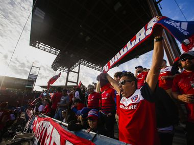 FC Dallas fans celebrate at the start of an MLS soccer match against Philadelphia Union on Saturday, Feb. 29, 2020 at Toyota Stadium in Frisco, Texas.