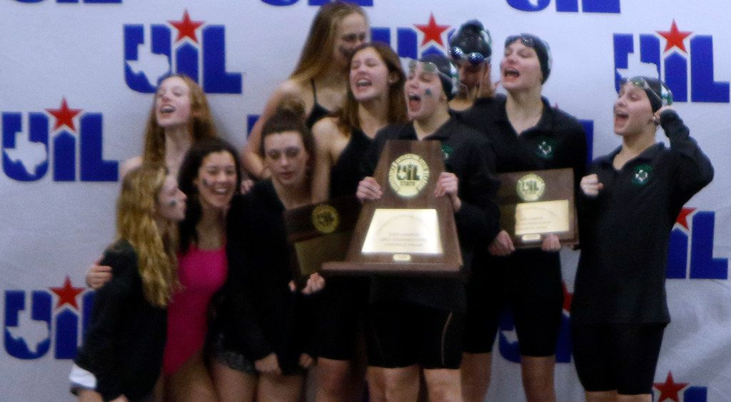 Members of the Southlake carroll girls swim team celebrate their first place victory win a total of 284 points. The UIL Class 6A state swimming and diving finals were held at the University of Texas' Lee and Joe Jamail Texas Swimming Center in Austin on February 15, 2020. (Steve Hamm/Special Contributor).
