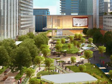 A 1,500-seat performing arts center and new parks and public plazas are part of Hall Park redevelopment plans.