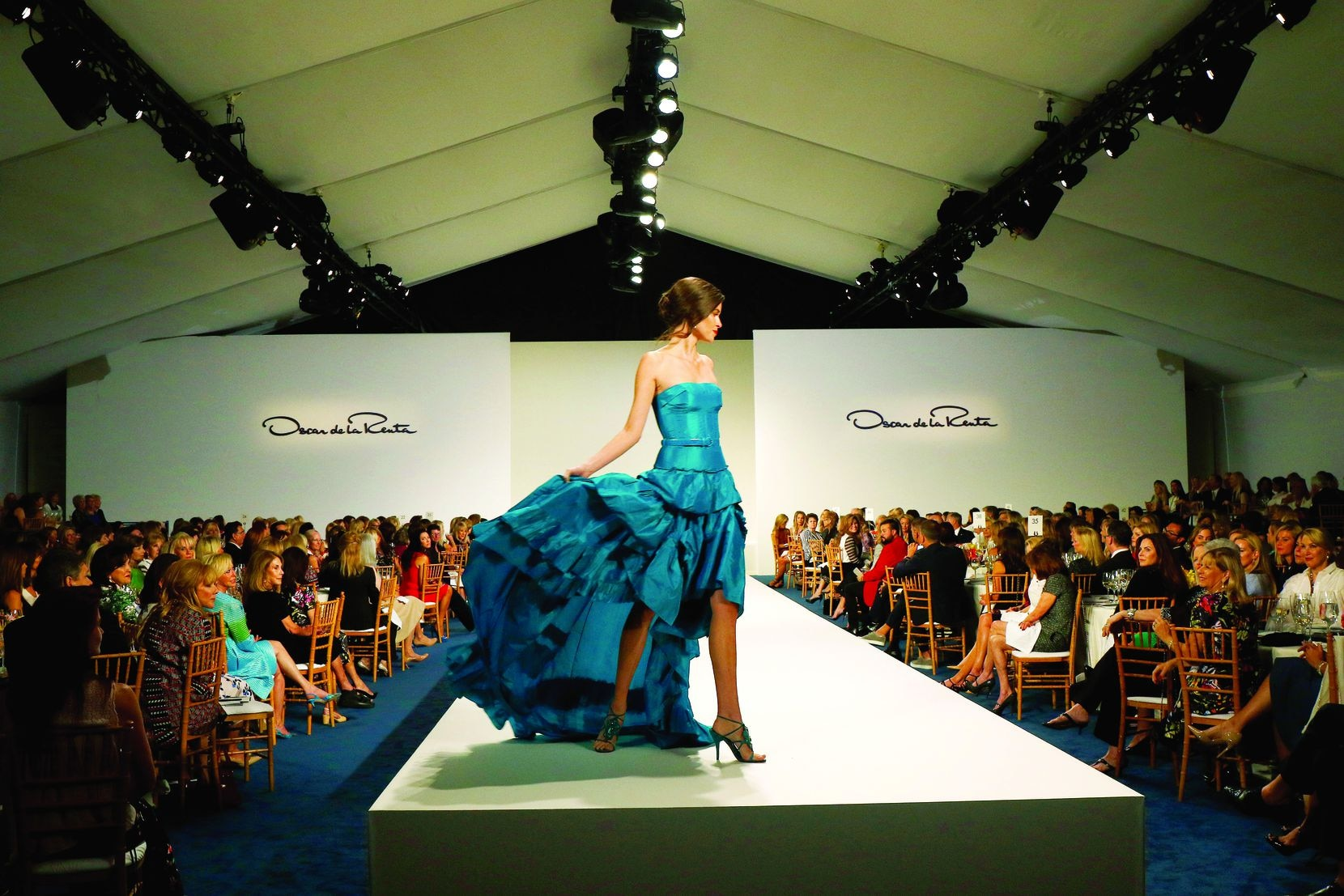 A model is shown at the Crystal Charity Ball's Ten Best Dressed fashion show and luncheon in 2015 at Neiman Marcus downtown.