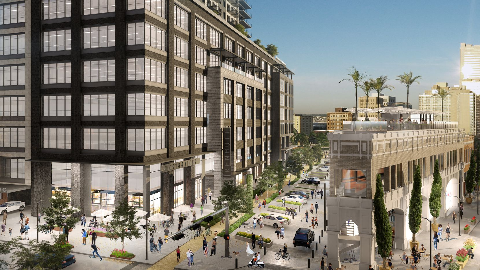 The retail, office and residential tower will be across the street from the landmark Magnolia Oil building, which is being converted into restaurant space with a rooftop bar.