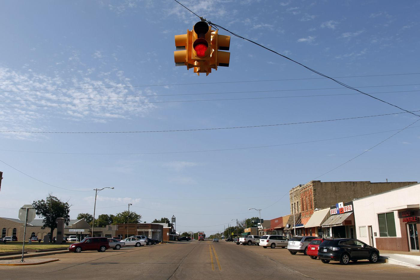 Looking down Center Street in downtown Archer City, Texas, a one traffic-light town.