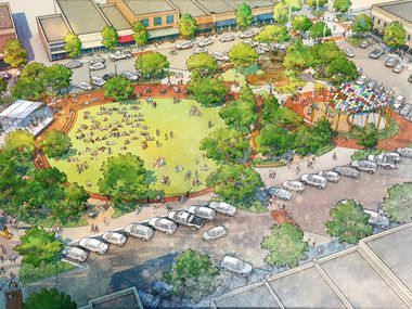 New renderings show the concept design for Garland's plan to redevelop its downtown square, adding a walkway and playground, among other features.