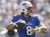 SMU quarterback Tanner Mordecai (8) looks to pass during the second quarter of play against TCU. The two teams played their NCAA football game at Amon G. Carter Stadium on the campus of TCU in Fort Worth on September 25, 2021.