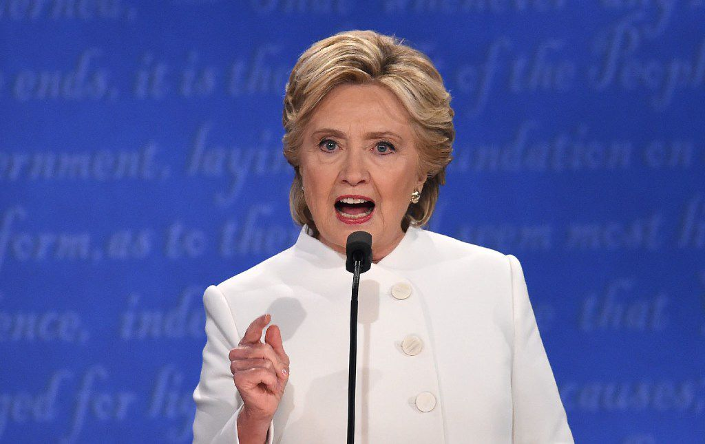 Democratic nominee Hillary Clinton speaks during the final presidential debate at the Thomas & Mack Center on the campus of the University of Las Vegas in Las Vegas, Nevada on October 19, 2016.