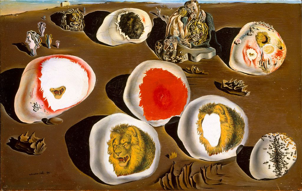 The 1929 work The Accommodations of Desire was made with oil paint and cut-and-pasted printed paper on wood.
