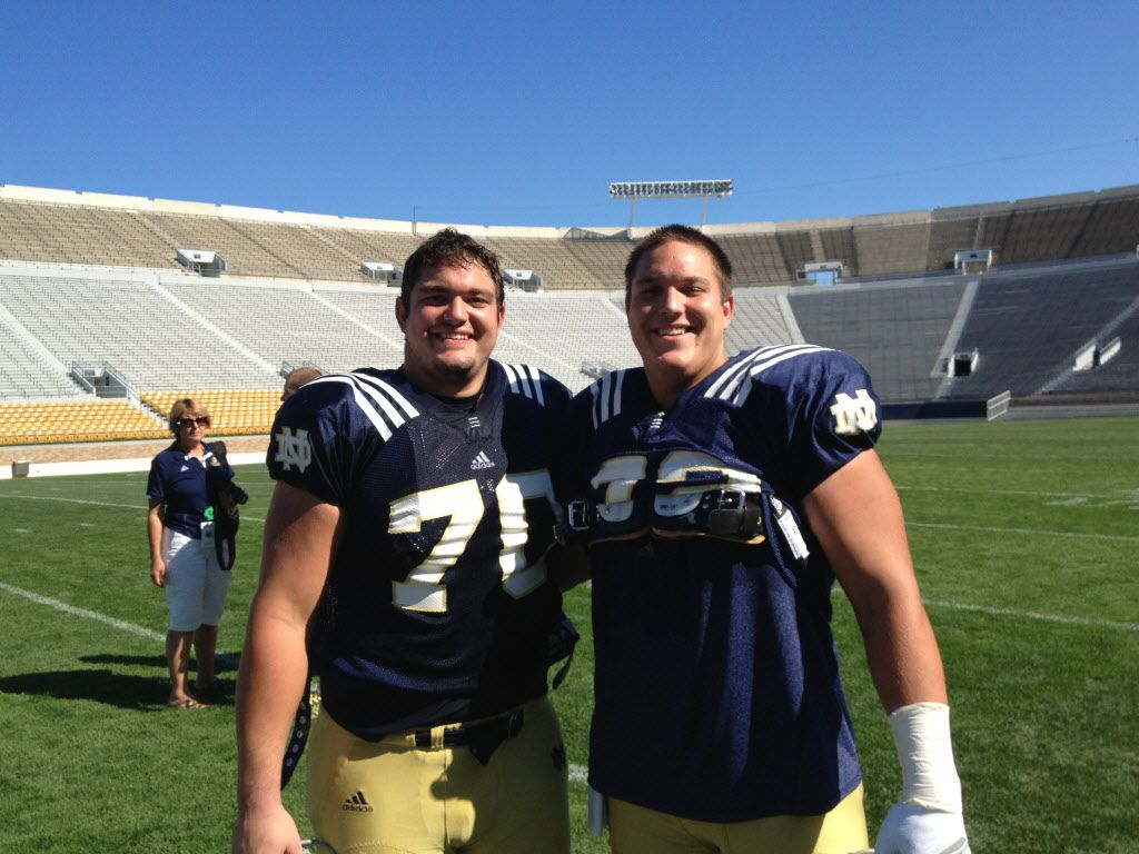 Zack Martin (No. 70) and Nick Martin are pictured at Notre Dame. Zack was drafted in the first round by the Cowboys. 05252014xSPORTS