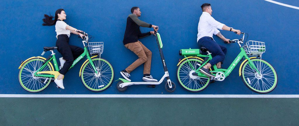 Silicon Valley-based LimeBike is one of the numerous bike-share companies competing in Dallas. The company plans to soon roll out more transportation options in Dallas. It'll offer a fleet of three modes of transit — a bike, electric bike and electric scooter. This photo shows all three.