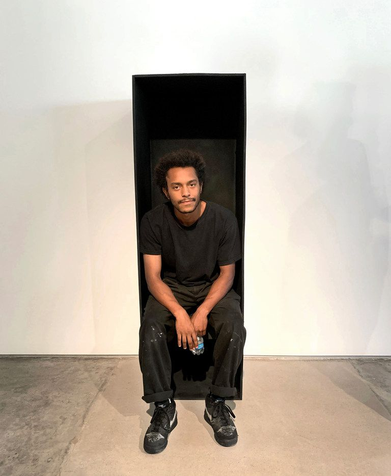 Artist Oshay Green with Antique Black Suite, 2019, wood, spray paint, speaker